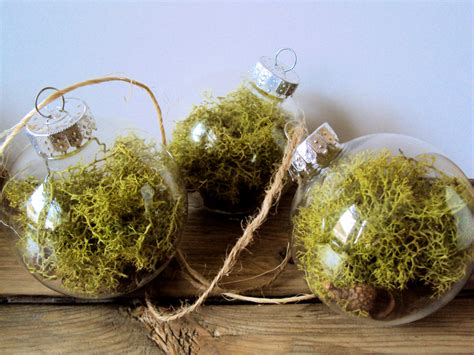 set of 3 woodland moss bauble ornaments rustic decor acorn