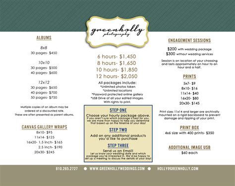 wedding photographer price list detroit green