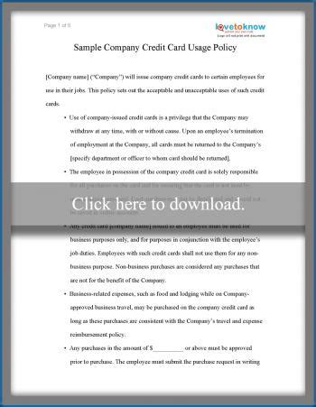 sample business credit card  policy lovetoknow