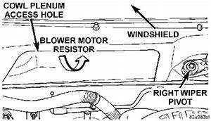 Where Is The Blower Motor Resistor Located On A 1999 Dodge