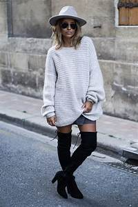 how to wear over the knee boots in fall just the design With robe pull et cuissarde