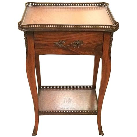 rich theodore wood and leather side table for