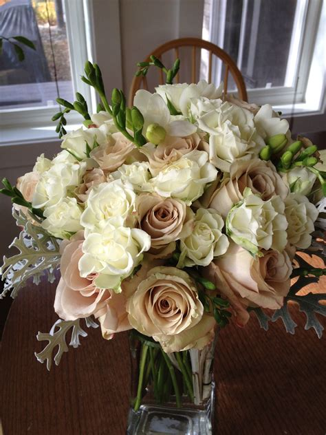 ivory  beige wedding flowers  birds floral