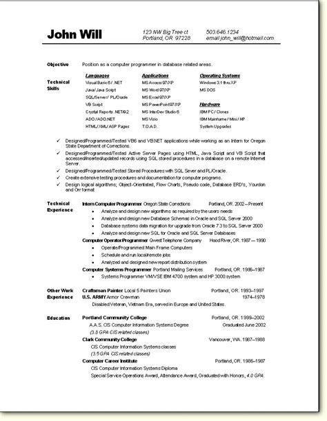 Programmer Resume by Programmer Resume Sle Computers Computer Science