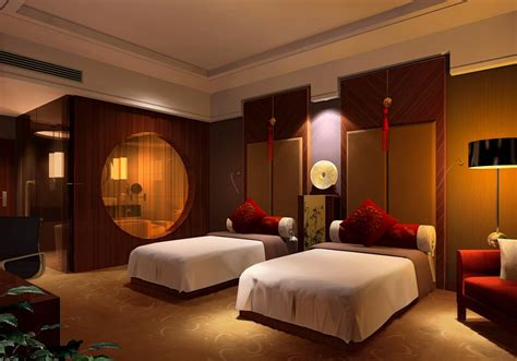 Thailand Hotel Room Interior Design Rendering Night House