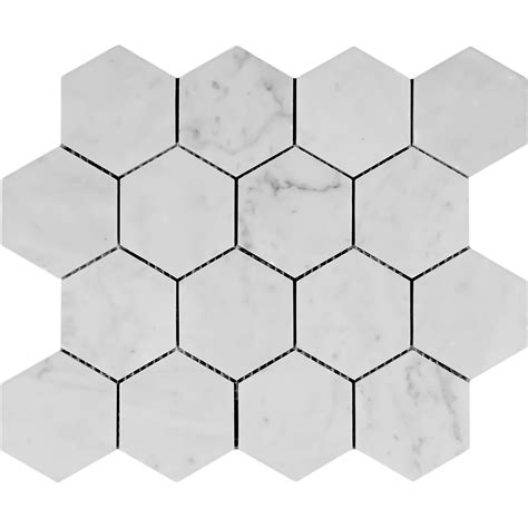 bianco carrara marble 3 inch hexagon mosaic honed white