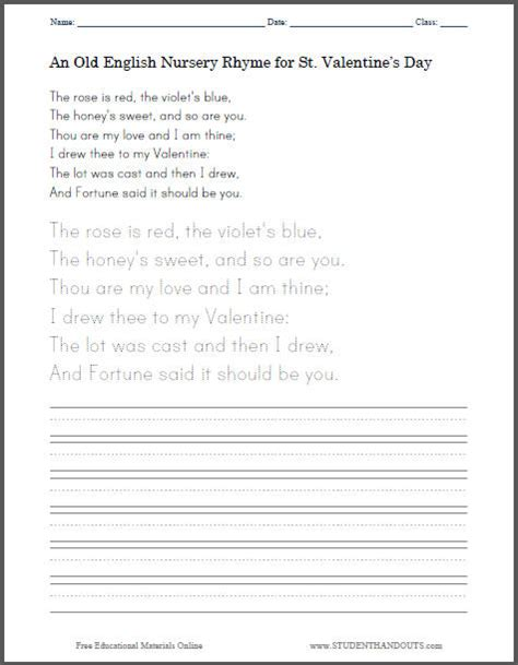old s day rhyme handwriting worksheet student handouts