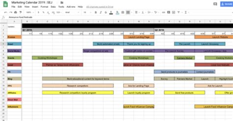 marketing calendar templates