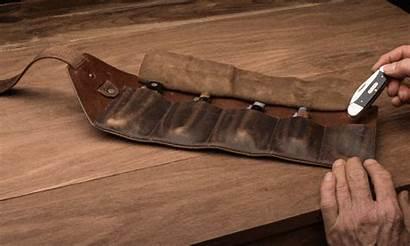 Pocket Knife Roll Garrett Wade Leather Tool