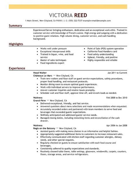 Server Resume by Server Resume Exle Restaurant Bar Sle Resumes Livecareer