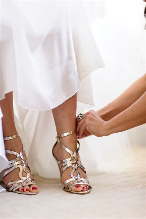 Strappy Gold Bridal Shoes Elizabeth Anne Designs The