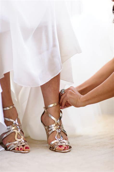 Strappy Gold Bridal Shoes Elizabeth Anne Designs The