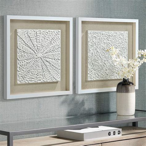 """It is also a simple and inexpensive. White Out 23 3/4"""" Square Framed Wall Art Set of 2 - #9T388 