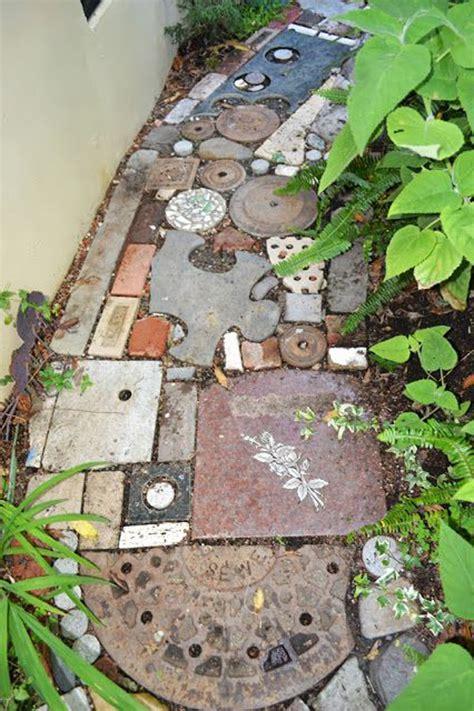 reclaimed diy brick path garden homemydesign