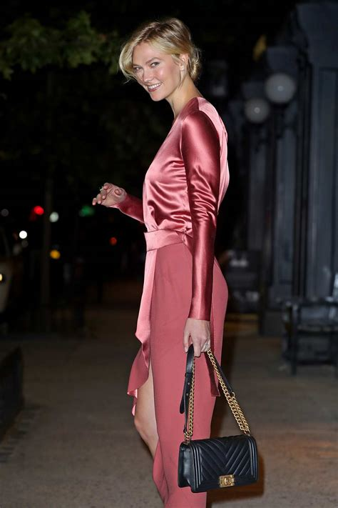Karlie Kloss Heads For Night Out Coral Red Satin