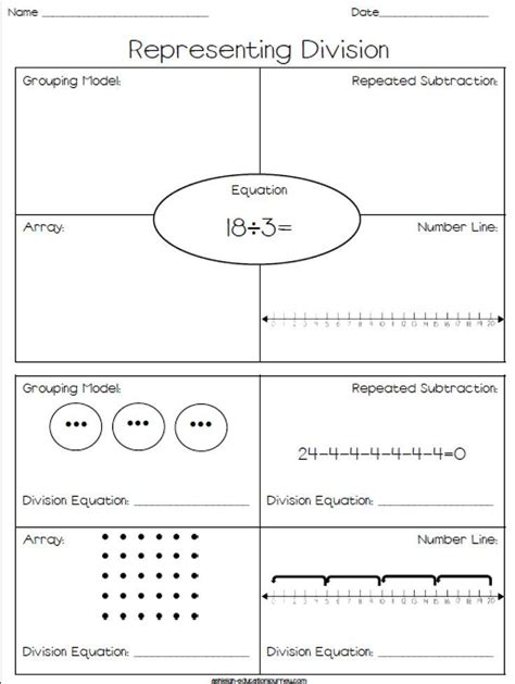 representing division free worksheet where students
