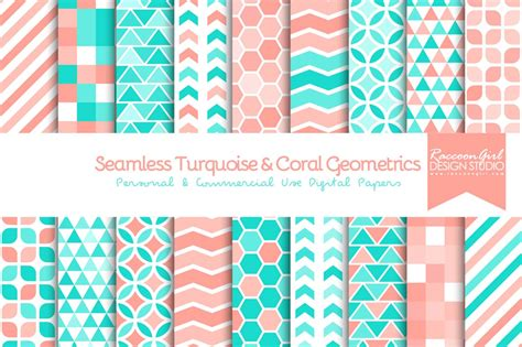 seamless turquoise coral geometric patterns