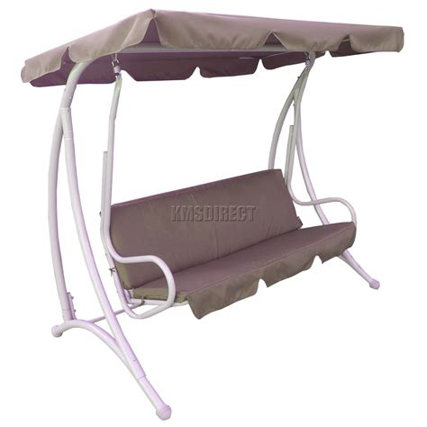 foxhunter brown garden metal swing hammock 3 seater chair