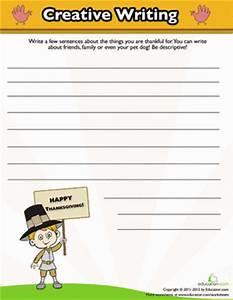 Thanksgiving Writing   Worksheet   Education.com