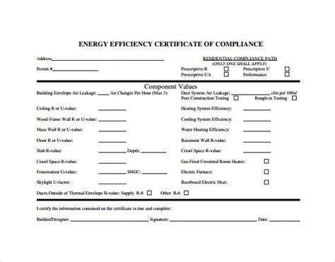 sample certificate  compliance  documents