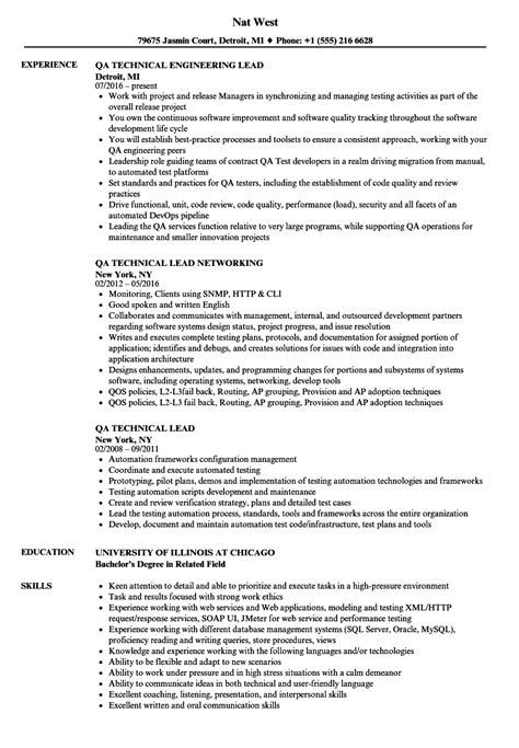 technical qa resume sles velvet
