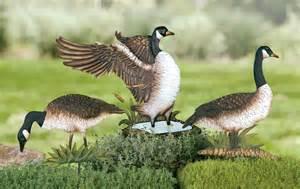 set of 3 metal geese yard stake decorations