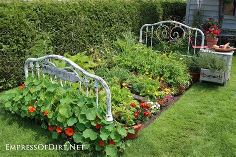 flower side table repurposed bed frame to garden bed hometalk