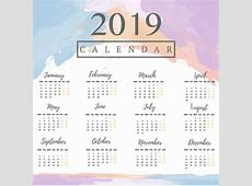 2019 calendar with watercolor background Vector Premium