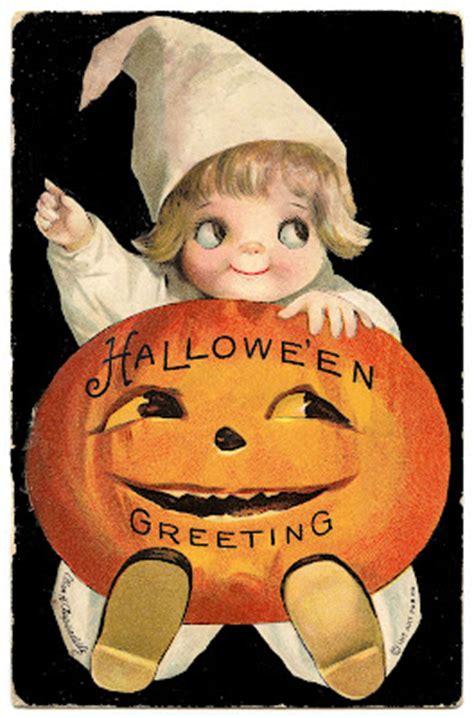 vintage halloween clip art googly eye pumpkin girl