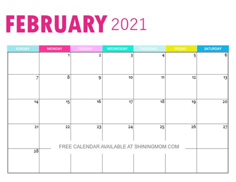 monthly calendar printable  pretty  pink