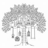 Coloring Treehouse Pages Tree Adult Adults Birds Boomhutten Fun Colouring Houses Printable Sheets Kleurplaten Bird Trees Treehouses Garden Nl Children sketch template