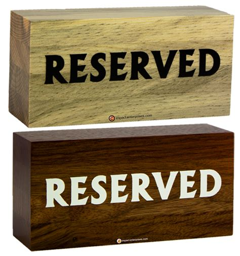 wooden reserved table signs table top display stands bar top display stands table