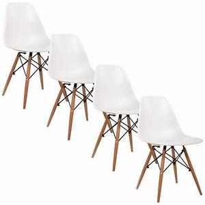 Chaise Design Blanche : chaise design blanche pieds en bois retro lot de 4 achat vente chaise blanc soldes d ~ Teatrodelosmanantiales.com Idées de Décoration