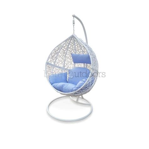 outdoor hanging chair white light blue hanging