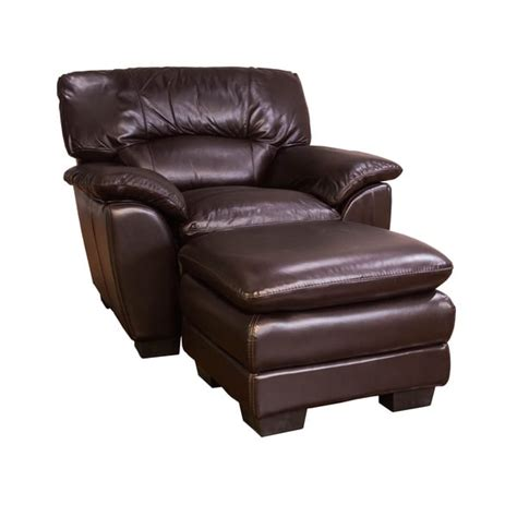 oversized chocolate leather chair and ottoman set free