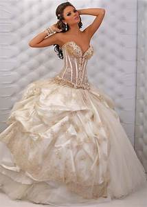 sexy sweetheart ball gown wedding dress with gold beading With ball gown wedding dresses with beading