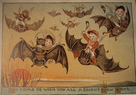 weird victorian christmas   year greeting cards