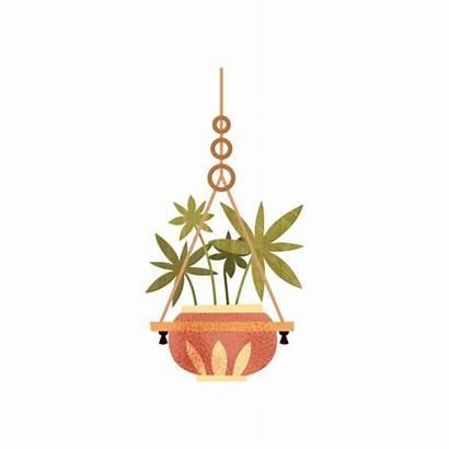 Hanging Plant Pot Vector Illustrations Clip Office