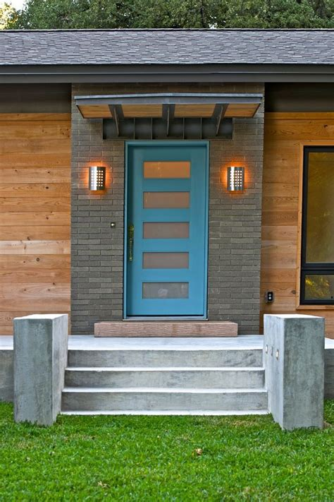 blue front door entry contemporary  paint grip siding