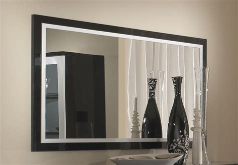meuble appoint cuisine miroir roma laqué bicolore noir blanc l 140 x h 85