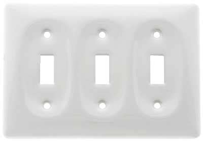 white porcelain triple toggle switch plate house