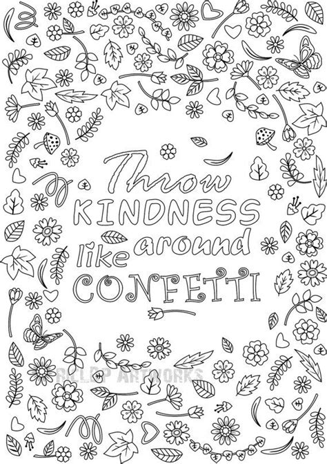 printable throw kindness   confetti coloring page  grown ups flower design
