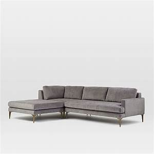 Andes 3 piece chaise sectional west elm for 3 piece sectional sofas with chaise