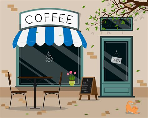 Why must all the rad art be right behind the seating? Coffee shop store front - Download Free Vectors, Clipart Graphics & Vector Art