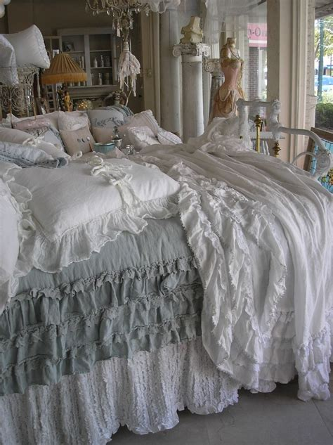 shabby chic grey bedding beautiful bed i would love to make this bed spread has to be cheaper than buying for the