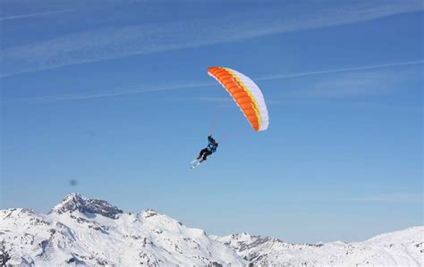 wallpaper speed riding paragliding skiing
