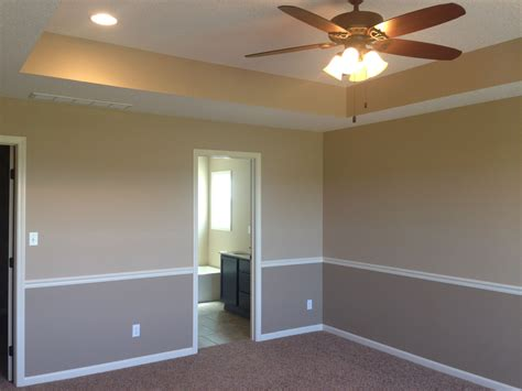 i like the tray ceiling and two tone walls with chair rail to separate colors house ideas