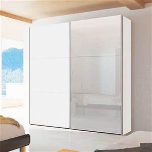 loft two door sliding wardrobe white gloss with mirror - dwell