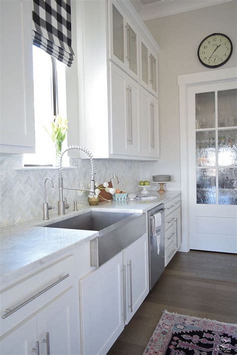 herringbone backsplash kitchen 14 white marble kitchen backsplash ideas you ll 1606