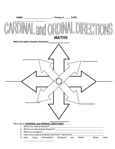 3rd to 5th grade cardinal and ordinal directions by